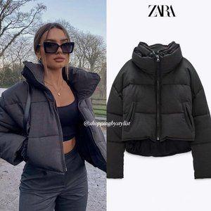 NWOT Zara Crop Contrast Puffer Jacket